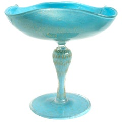 Alfredo Barbini Murano Gold Flecks Blue Italian Art Glass Compote Candy Bowl