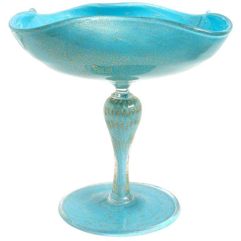 Alfredo Barbini Murano Gold Flecks Blue Italian Art Glass Compote Candy Bowl