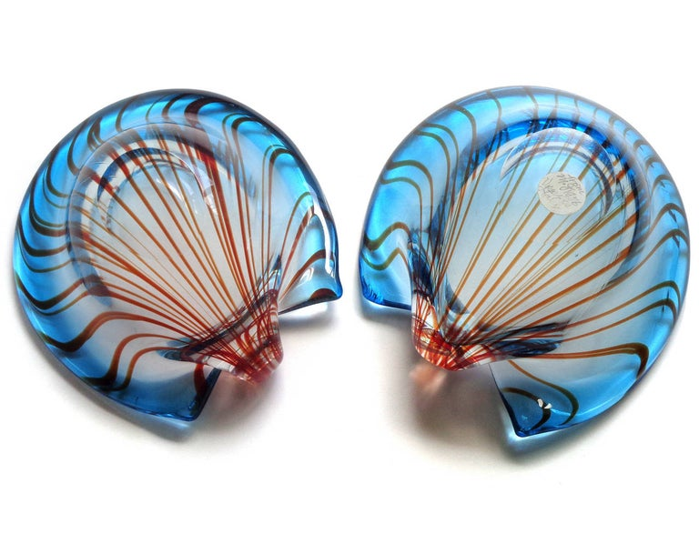 Mid-Century Modern Murano Sommerso Blue and Red Stripes 1956 Italian Art Glass Seashell Bowl Set For Sale