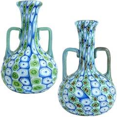 Fratelli Toso Murano Millefiori Flower Mosaic Italian Art Glass Cabinet Vases