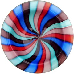 Murano Rainbow Pinwheel Stripes Italian Art Glass Decorative Dish Bowl