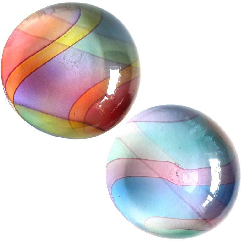 Archimede Seguso Signed Murano Rainbow Italian Art Glass Paperweights