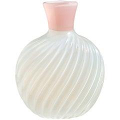 Archimede Seguso Murano Opal White Pink Ribbed Italian Art Glass Flower Vase