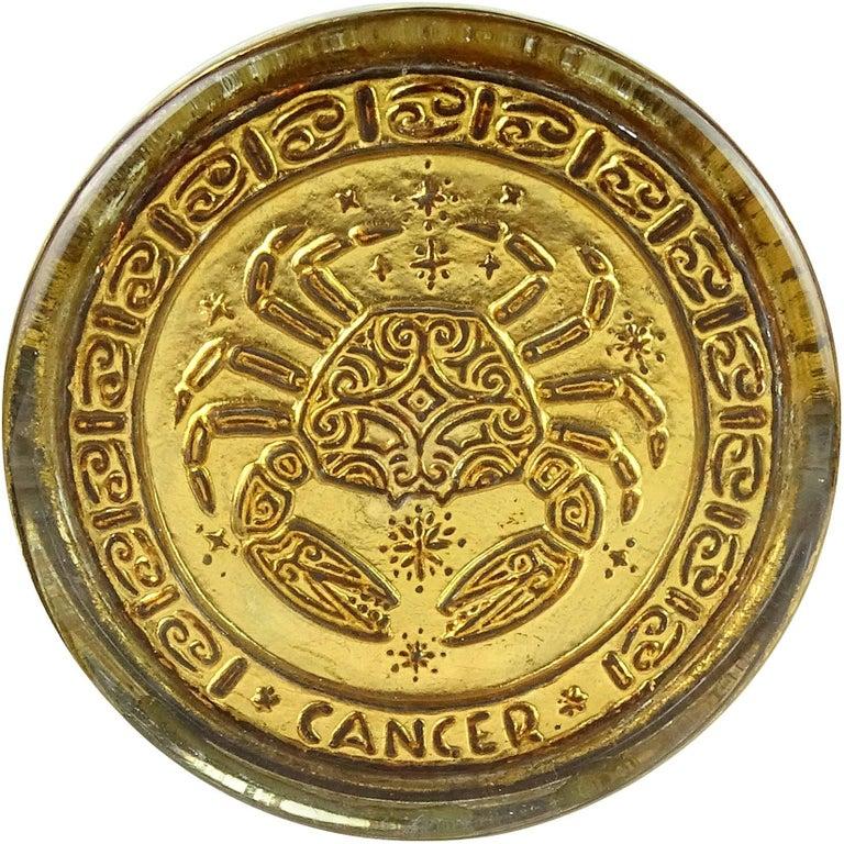 Venetian Gold Leaf Embossed Cancer Zodiac Sign Italian Art Glass Paperweight