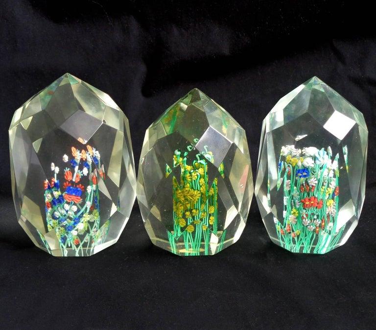 Mid-Century Modern Toso Murano Millefiori Wild Flower Italian Art Glass Diamond Facet Paperweights For Sale