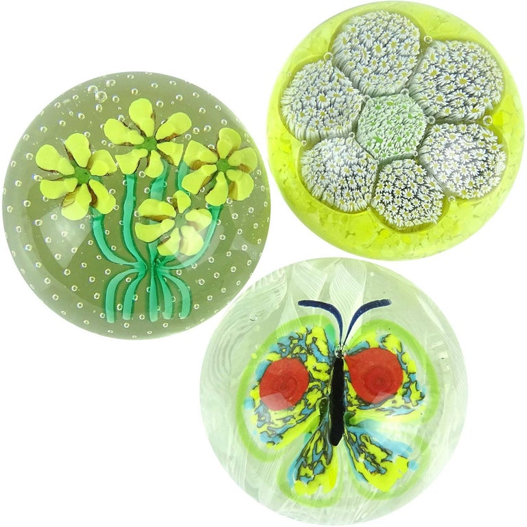Toso Murano Butterfly Mosaic Millefiori Flower Italian Art Glass Paperweights For Sale