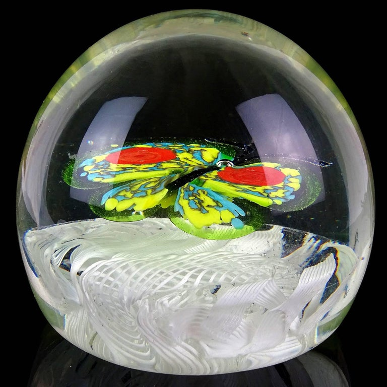 20th Century Toso Murano Butterfly Mosaic Millefiori Flower Italian Art Glass Paperweights For Sale