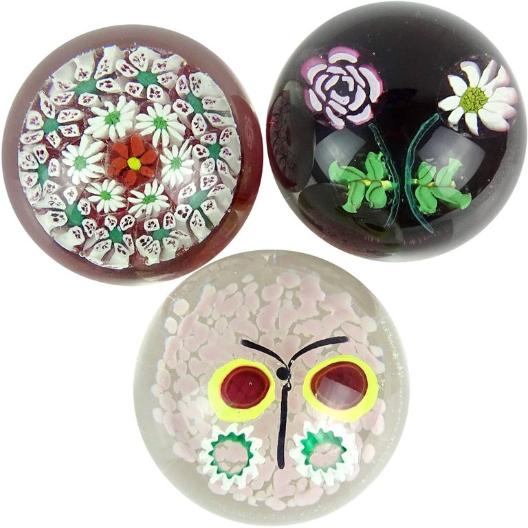Fratelli Toso Murano Millefiori Flower Butterfly Italian Art Glass Paperweights For Sale