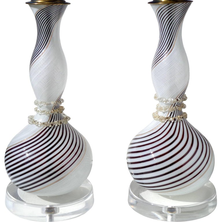 Dino Martens Aureliano Toso Murano Black White Gold Italian Art Glass Lamps