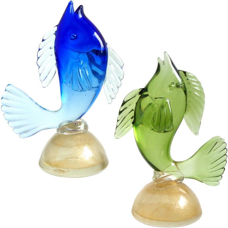 Alfredo Barbini Murano Sommerso Blue Green Italian Art Glass Fish Sculptures