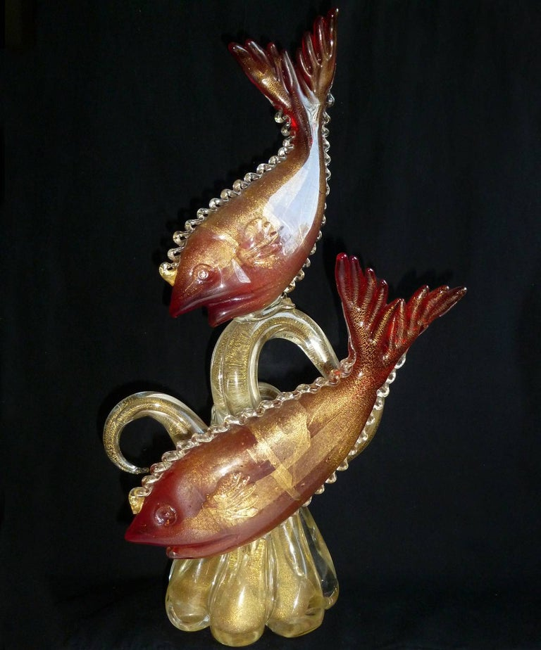 20th Century Murano Red Fish on Gold Coral Tendrils Italian Art Centrepiece Sculpture For Sale