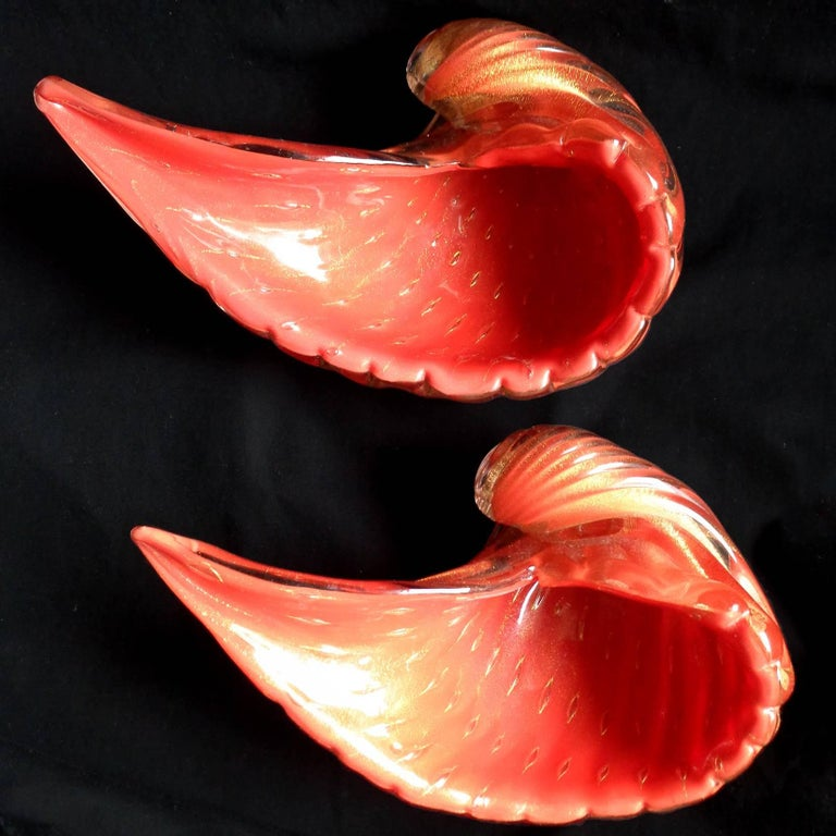 Hand-Crafted Alfredo Barbini Murano Orange Gold Flecks Italian Art Glass Seashell Bowls For Sale