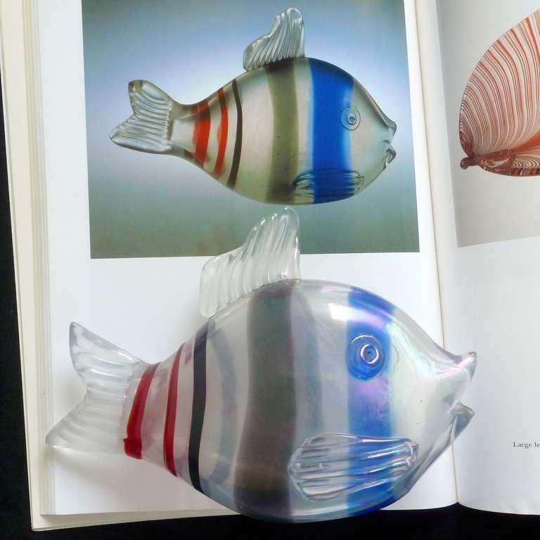 Hand-Crafted Venini 1935 Tyra Lundgren Murano Iridescent Italian Art Glass Fish Sculpture For Sale