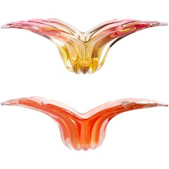Barbini Murano Sommerso and Solid Orange Hues Italian Art Glass Wing Bowls