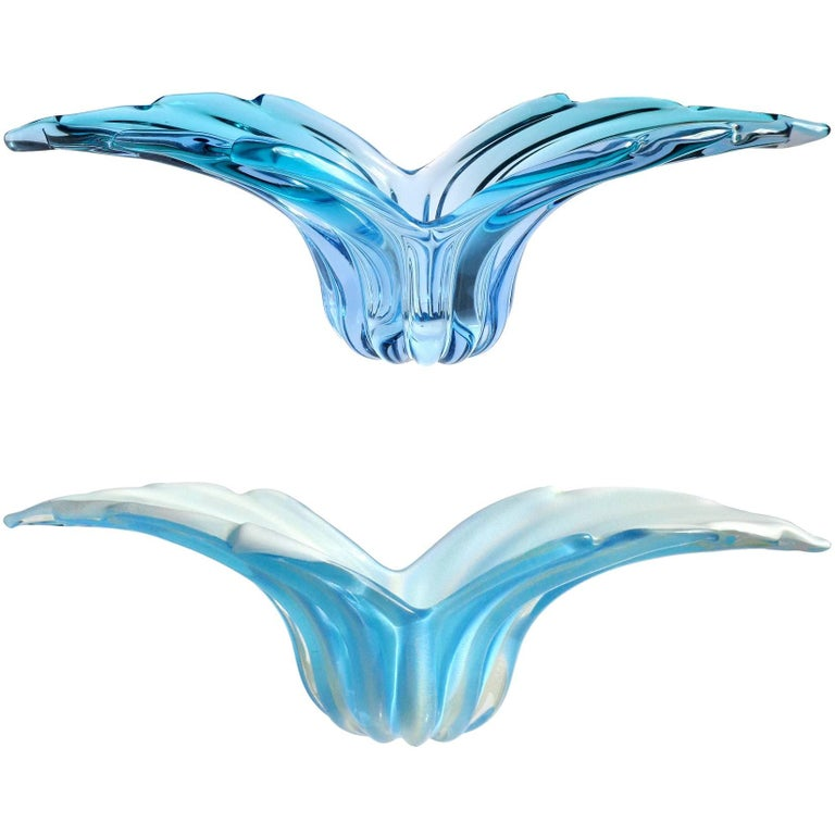 Barbini Murano Sommerso, Gold Solid Blue Hues Italian Art Glass Wing Bowls For Sale