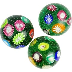 Fratelli Toso Murano Rainbow Flower Garden Italian Art Glass Paperweights