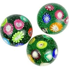 Fratelli Toso Murano Rainbow Wild Flower Garden Italian Art Glass Paperweights