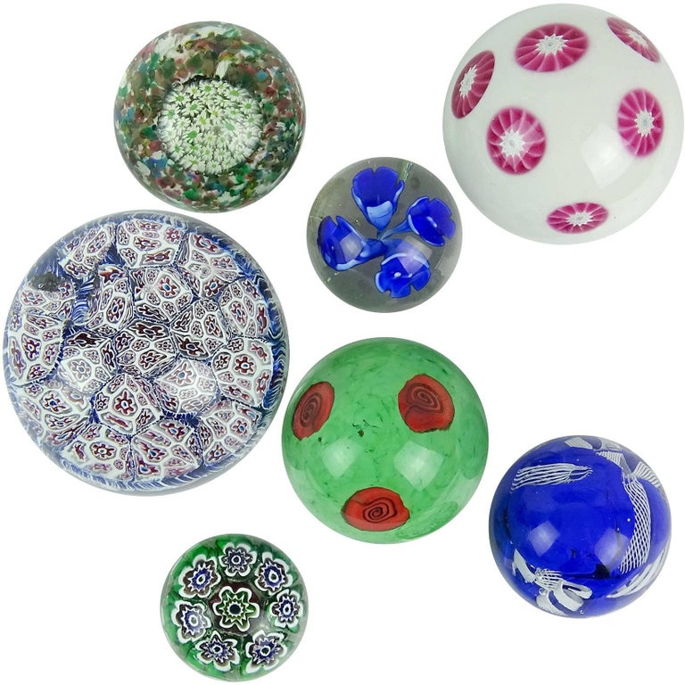 Fratelli Toso Murano Millefiori Flowers Mosaic Italian Art Glass Paperweight Set For Sale