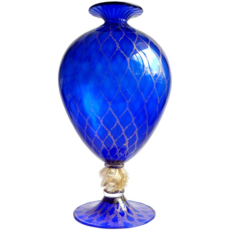 V. Nason Murano Sapphire Blue Gold Flecks Diamond Design Italian Art Glass Vase