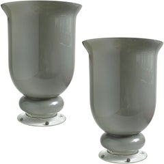 Large Murano Gray Urn Shaped Italian Art Glass Centerpiece Flower Vases
