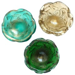 Seguso Vetri d'Arte Murano Gold Flecks Coral Design Italian Art Glass Ring Bowls