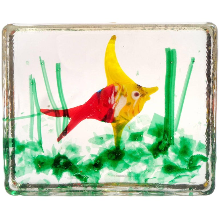 Murano Bright Red Yellow Fish Italian Art Glass Aquarium Paperweight Sculpture For Sale