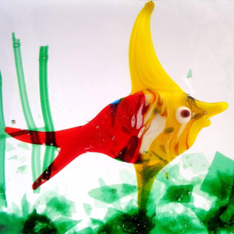 Mid-Century Modern Murano Bright Red Yellow Fish Italian Art Glass Aquarium Paperweight Sculpture For Sale
