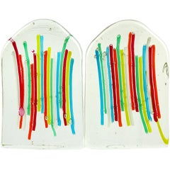 Fratelli Toso Murano Rainbow Ribbons Italian Art Glass Bookend Sculptures