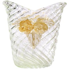 Seguso Vetri d'Arte Murano Diamond Quilted Gold Italian Art Glass Flower Vase