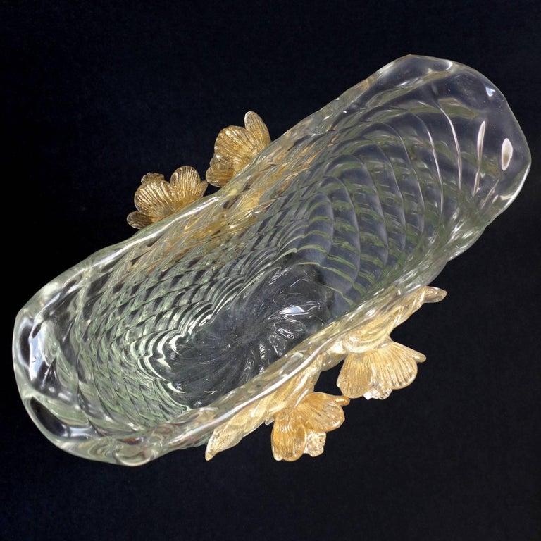 Hand-Crafted Seguso Vetri d'Arte Murano Diamond Quilted Gold Italian Art Glass Flower Vase For Sale