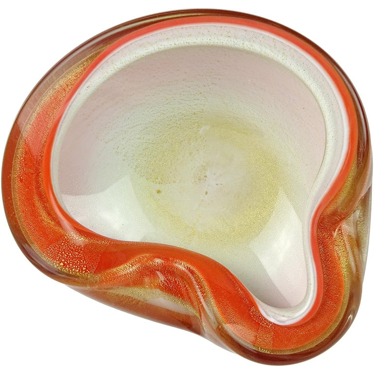 Alfredo Barbini Murano Orange White Gold Flecks Italian Art Glass Bowl Dish