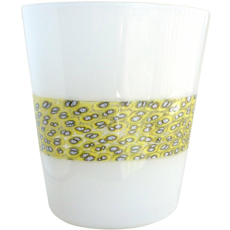Riccardo Licata Murano Black Orange Murrine Italian Art Glass Decorative Bowl In Excellent Condition For Sale In Kissimmee, FL