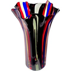 Murano Red, Blue, Yellow, Black and Gray Bands Italian Art Glass Fazzoletto Vase