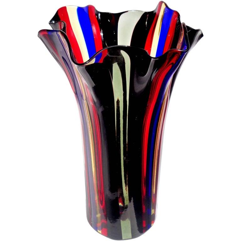 Murano Red, Blue, Yellow, Black and Gray Bands Italian Art Glass Fazzoletto Vase