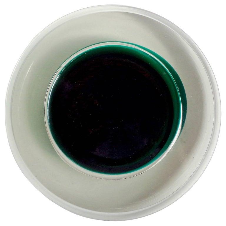 Sergio Asti Salviati Murano Signed Italian Art Glass Sommerso Hovering UFO Bowl