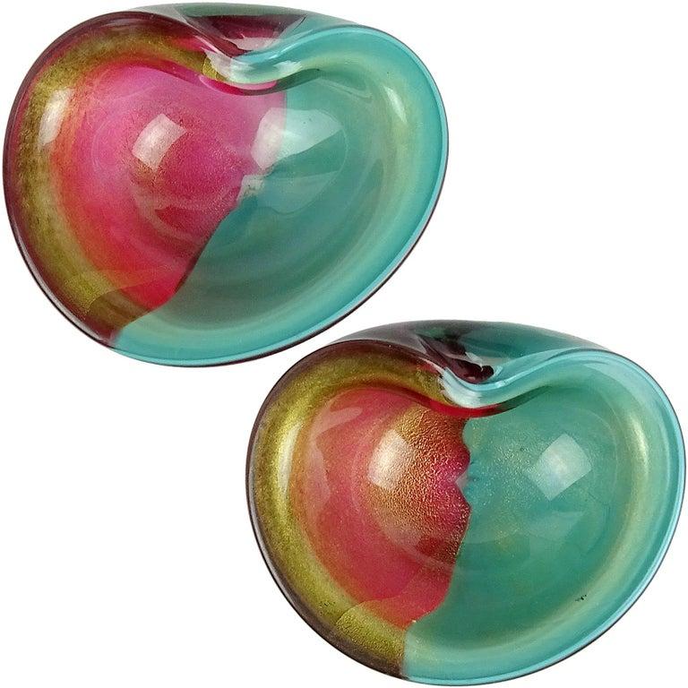 Alfredo Barbini Amethyst Green Gold Flecks Italian Art Glass Decorative Bowls