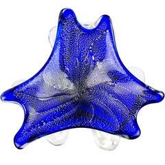 Murano Cobalt Blue Silver Flecks Vintage Italian Art Glass Decorative Bowl