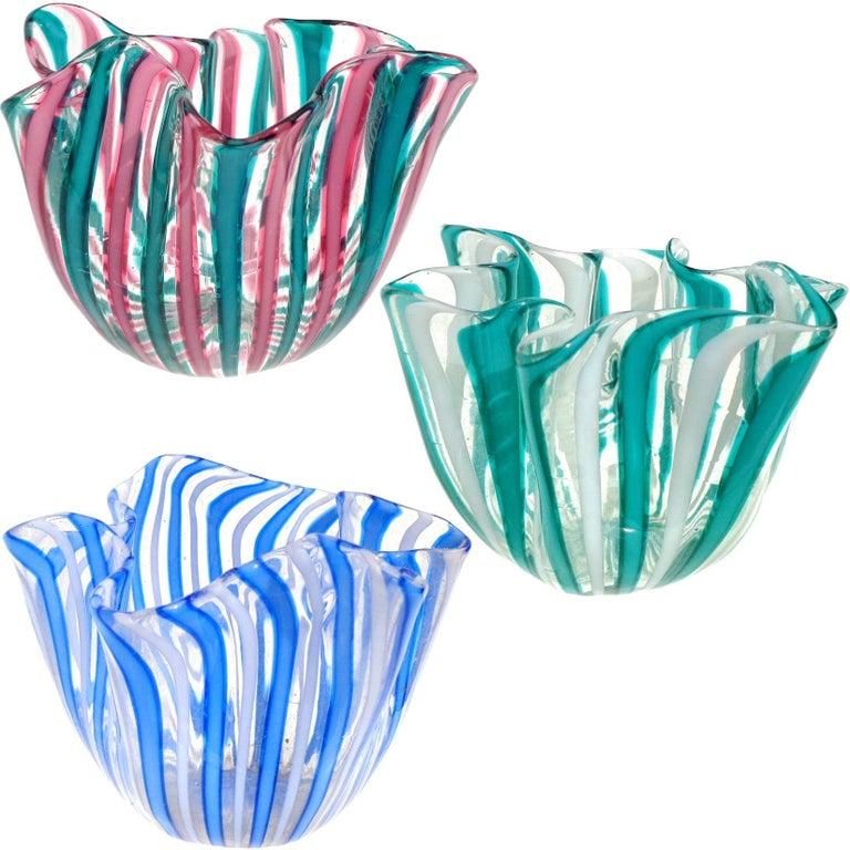 20th Century Bianconi Venini Murano Filigrana Stripes Italian Art Glass Fazzoletto Vases For Sale