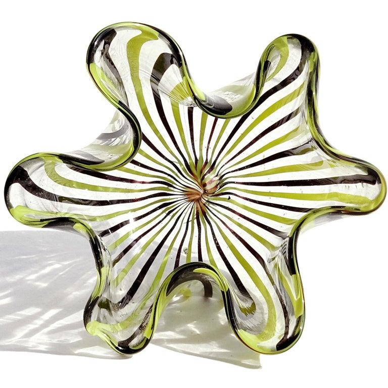 Mid-Century Modern Bianconi Venini Murano Filigrana Stripes Italian Art Glass Fazzoletto Vases For Sale