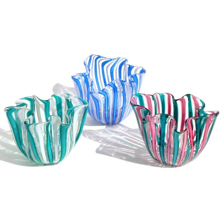 Beautiful Murano handblown Filigrana stripes Italian art glass mini decorative fazzoletto vases. Documented to designer Fulvio Bianconi, for the Venini Company, circa 1950. One has a partial signature (pink / green). Priced per item. Last photo