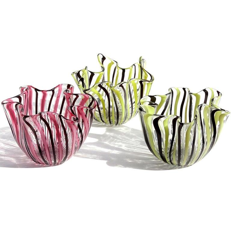 Bianconi Venini Murano Filigrana Stripes Italian Art Glass Fazzoletto Vases For Sale 1