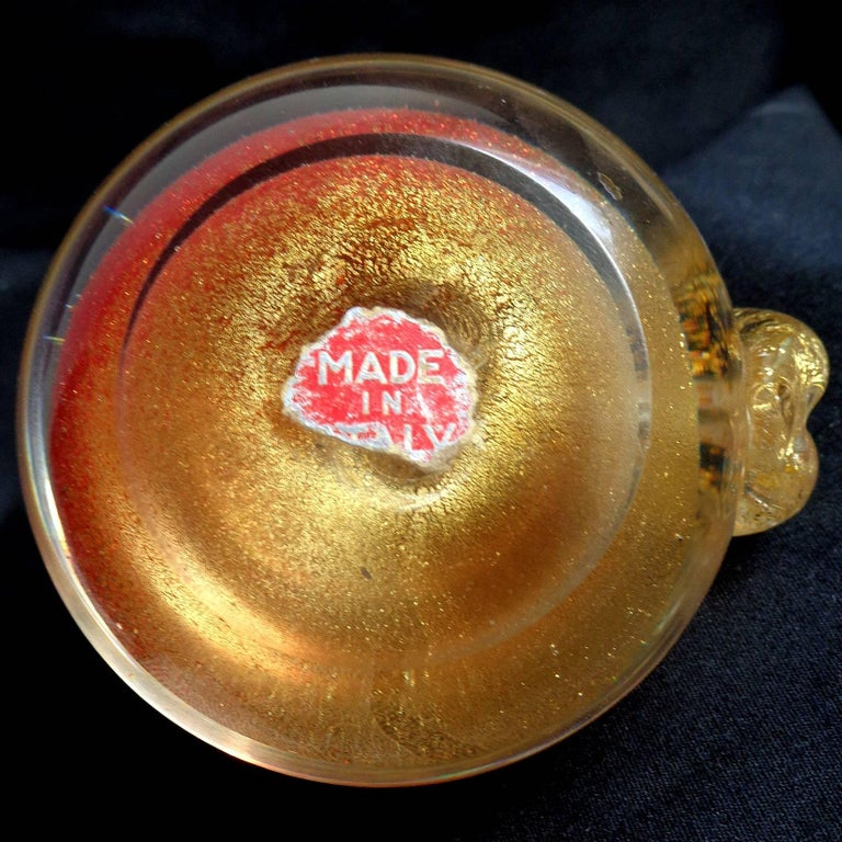 Seguso Murano Red Gold Italian Art Glass Pear Dish, Apple Paperweight Set In Excellent Condition For Sale In Kissimmee, FL
