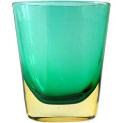 Flavio Poli Murano Sommerso Yellow Green Italian Art Glass Vintage Flower Vase
