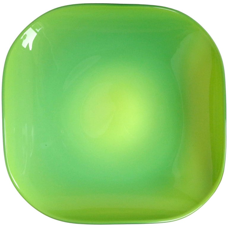 Murano Bright Green Squared Italian Art Glass Center Bowl, Made in Italy Label