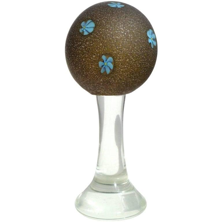 Fratelli Toso Murano Blue Millefiori Satin Glass Italian Art Glass Paperweight For Sale