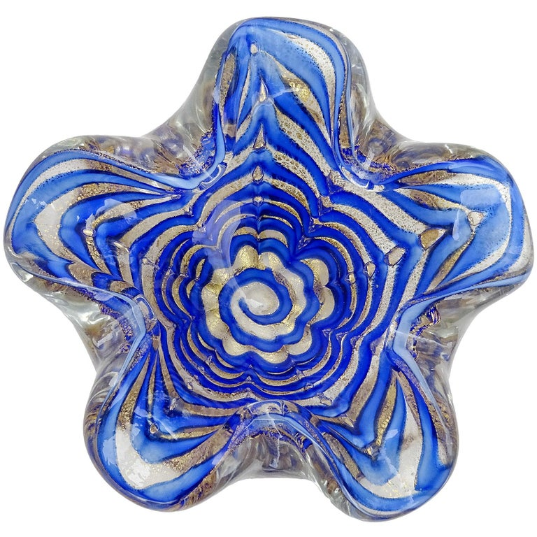 Ercole Barovier Murano White Gold Flecks Italian Art Glass Flower Bowls In Excellent Condition For Sale In Kissimmee, FL