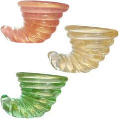 Barovier Toso Murano Gold Flecks Italian Art Glass Seashell Ring Dish Sculptures