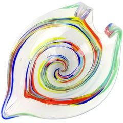 Fratelli Toso Murano Rainbow Swirl Opalescent Italian Art Glass Sculptural Bowl