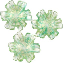 Murano Green Spatter Swirl Gold Flecks Italian Art Glass Flower Shape Bowls