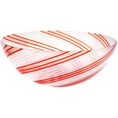 Dino Martens Aureliano Toso Murano Red Orange White Italian Art Glass Bowl